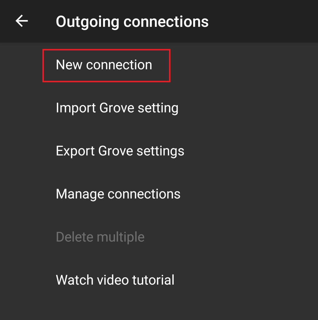 Larix Broadcaster - Connection settings screen